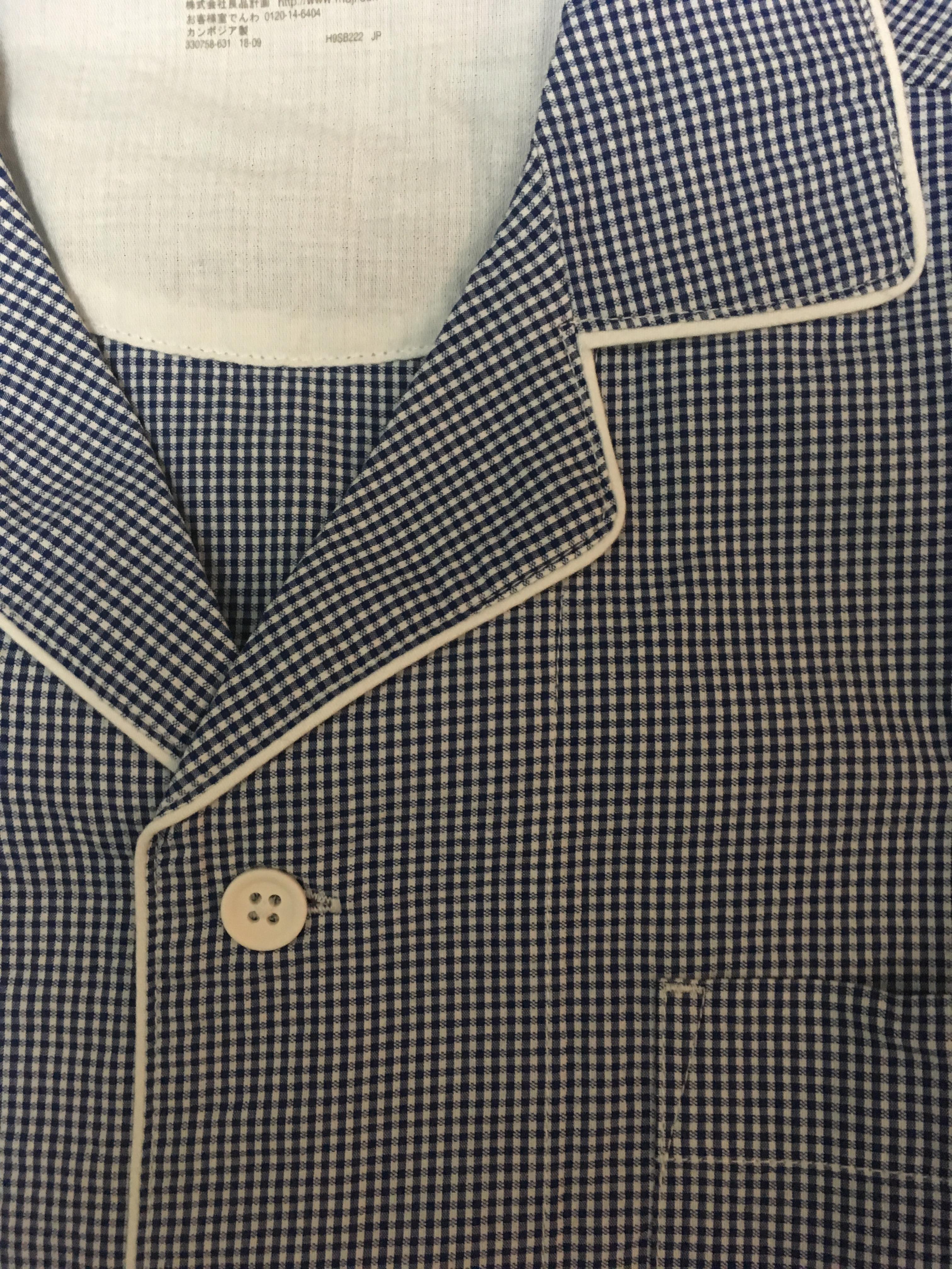 無印良品のサッカー織り半袖パジャマの素材のアップ