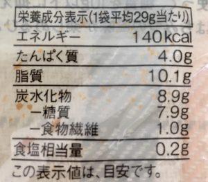 無印良品の糖質10g以下のお菓子 ひとくちはちみつケーキの栄養成分表示