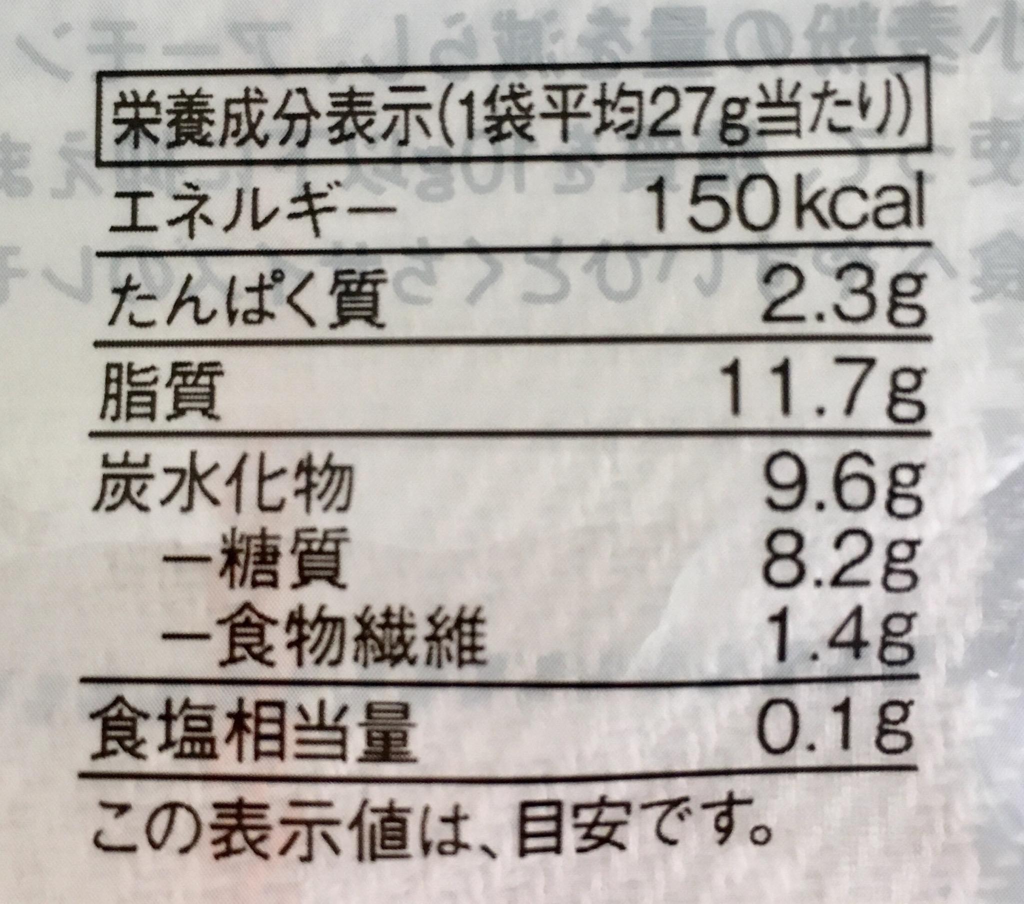 無印良品の糖質10g以下のお菓子 ひとくちレモンマドレーヌの栄養成分表示