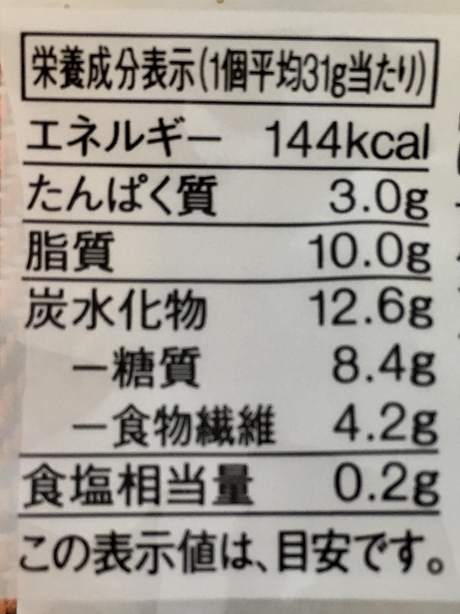無印良品の糖質10g以下のお菓子 紅茶ドーナツの栄養成分表示