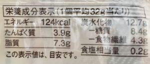無印良品の糖質10g以下のお菓子 ミルクマフィンの栄養成分表示