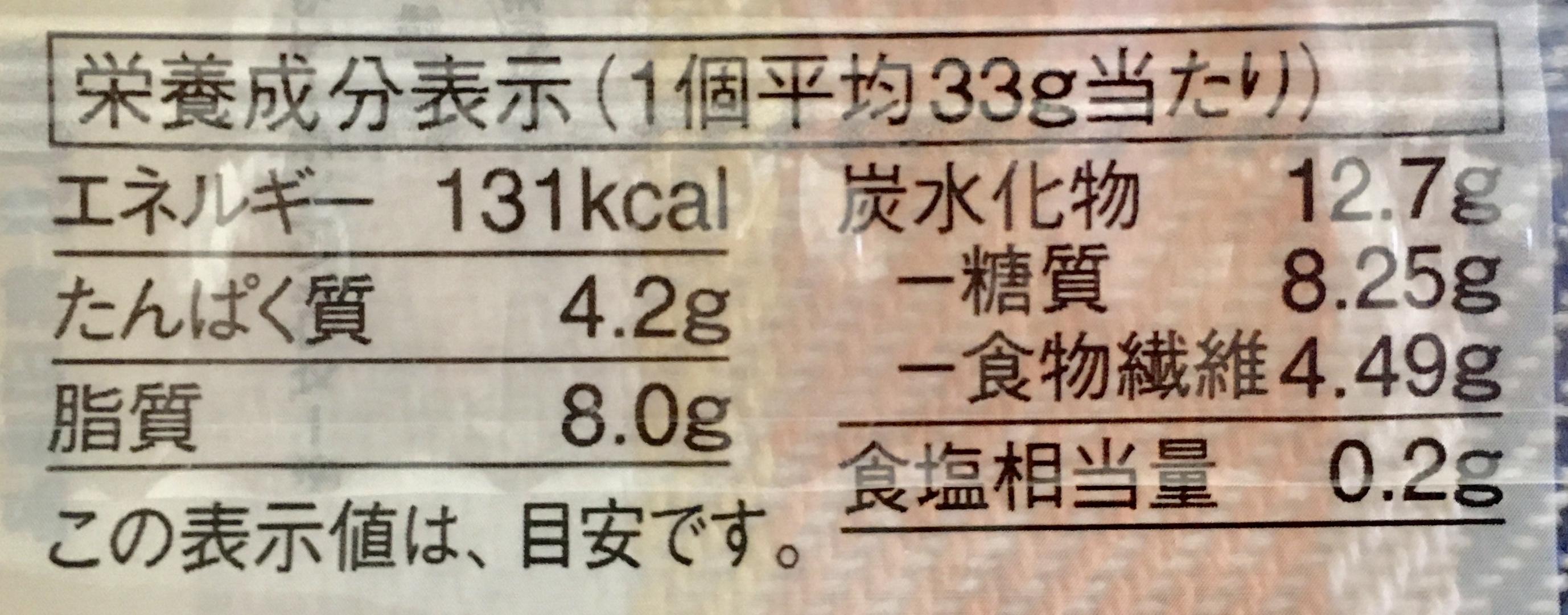 無印良品の糖質10g以下のお菓子 バナナマフィンの栄養成分表示
