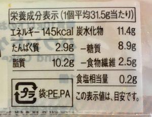 無印良品の糖質10g以下のお菓子 パウンドケーキの栄養成分表示