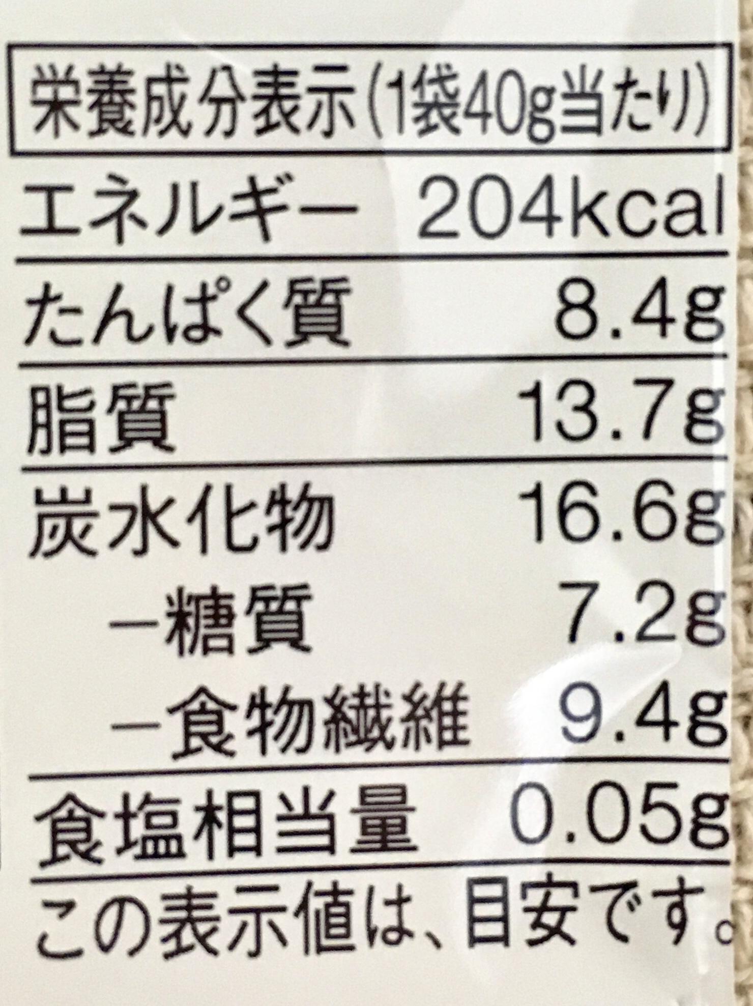 無印良品の糖質10g以下のお菓子 コーヒーチョコがけ大豆の栄養成分表示