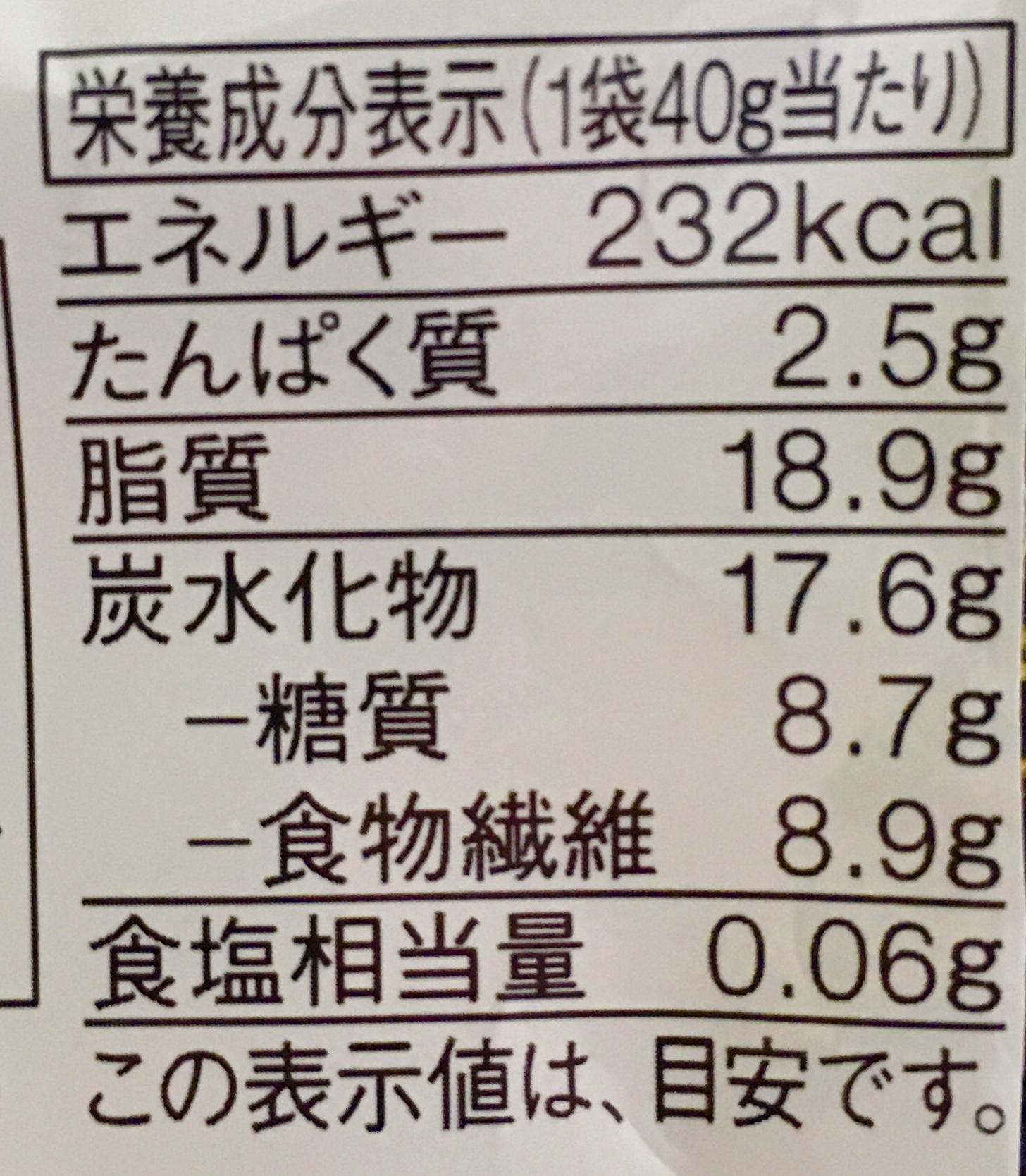 無印良品の糖質10g以下のお菓子 ホワイトチョコレートの栄養成分表示