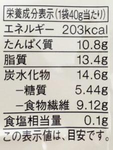 無印良品の糖質10g以下のお菓子 きなこチョコがけ大豆の栄養成分表示