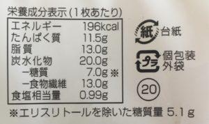 シャトレーゼの糖質83%カットのピザ マルゲリータの栄養成分表示