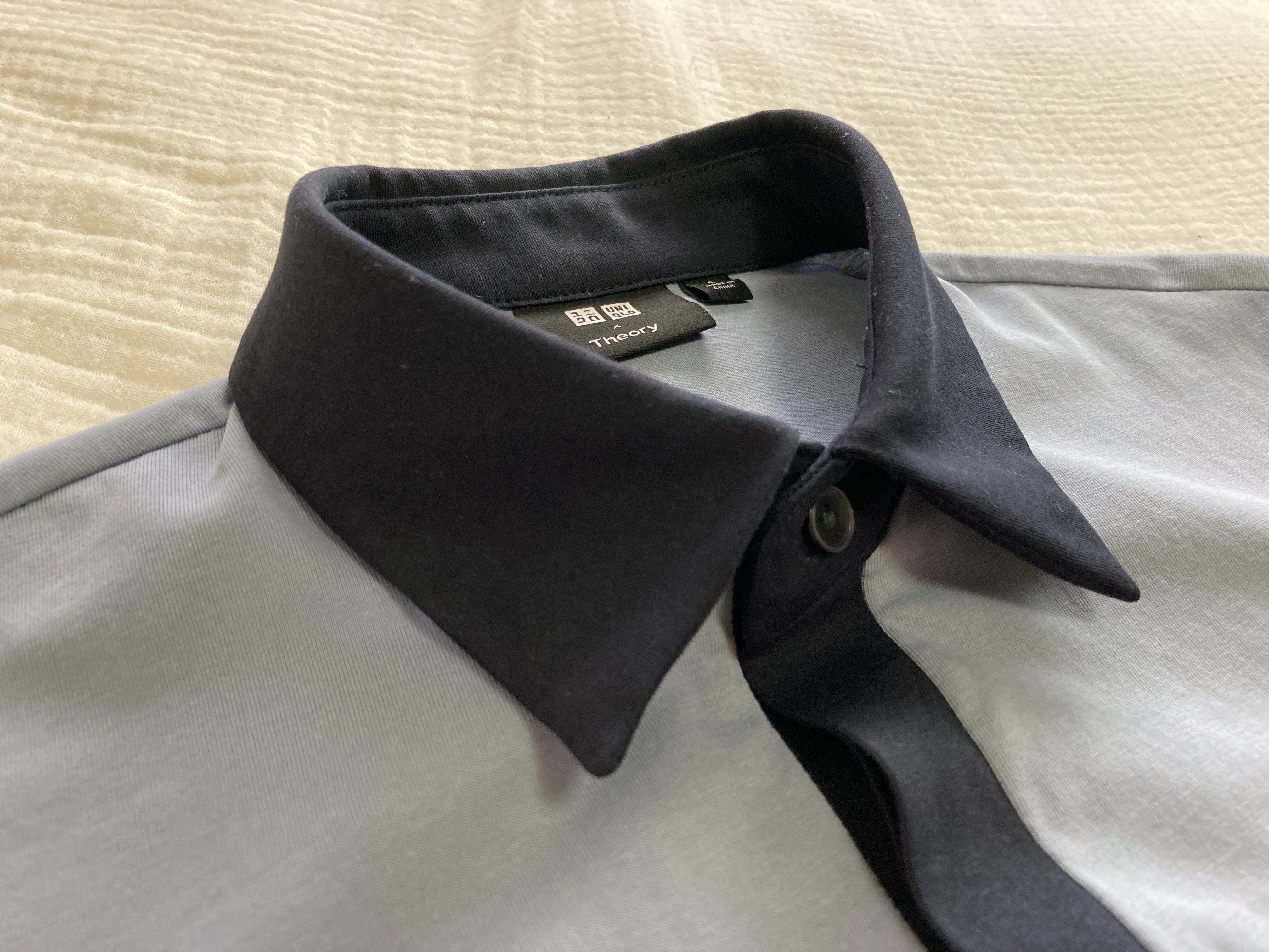 ユニクロ×セオリーのエアリズムジャージースリムフィットポロシャツの襟