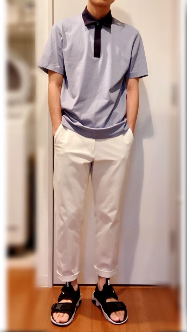 ユニクロ×セオリーのエアリズムジャージースリムフィットポロシャツのコーデ